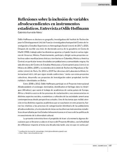 Reflexiones sobre la inclusión de variables afrodescendientes en instrumentos estadísticos. Entrevista a Odile Hoffmann