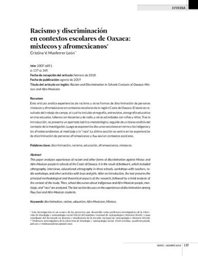 Racismo y discriminación en contextos escolares de Oaxaca: mixtecos y afromexicanos