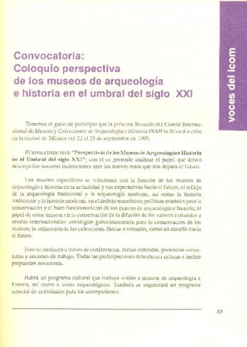 Convocatoria: Coloquio perspectiva de los museos de arqueología e historia en el umbral del siglo XXI