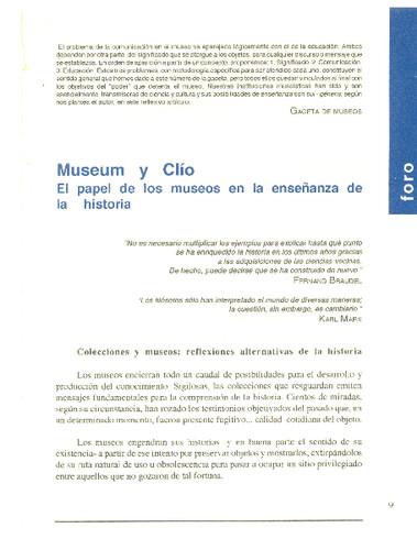 Museum y Clío. El papel de los museos en la enseñanza de la historia