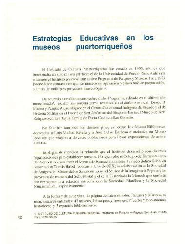 Estrategias Educativas en los museos puertorriqueños
