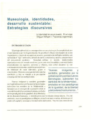 Museología, identidades, desarrollo sustentable: Estrategias discursivas