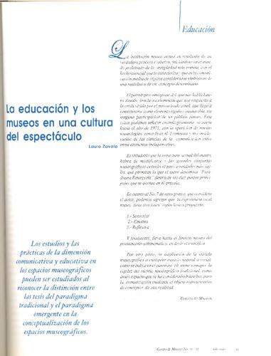 La educación y los museos en una cultura del espectáculo