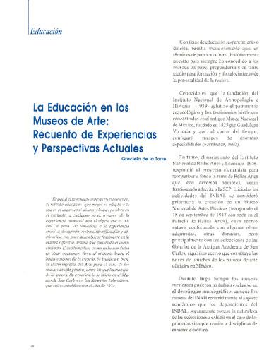 La Educación en los Museos de Arte: Recuento de Experiencias y Perspectivas Actuales