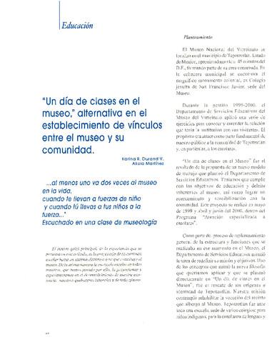 """""""Un día de clases en el museo"""" alternativa en el establecimiento de vínculos entre el museo y su comunidad"""