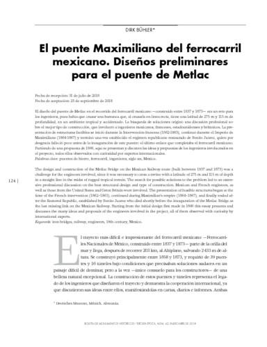 El puente Maximiliano del ferrocarril mexicano. Diseños preliminares para el puente de Metlac