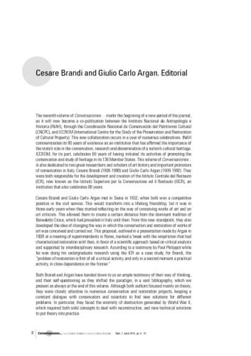 Cesare Brandi and Giulio Carlo Argan. Editorial