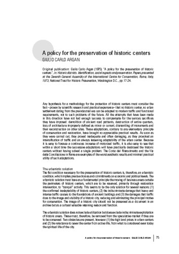A policy for the preservation of historic centers