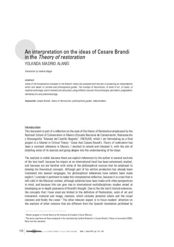 An interpretation on the ideas of Cesare Brandi in the Theory of restoration