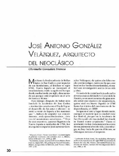 José Antonio González Velázquez, arquitecto del neoclásico