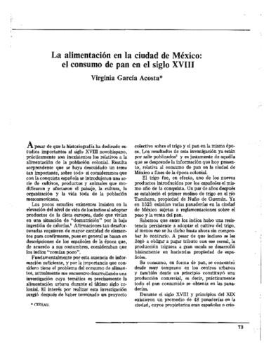 La alimentación en la ciudad de México: el consumo de pan en el siglo XVIII
