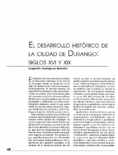 El desarrollo histórico de la ciudad de Durango: siglos XVI y XIX