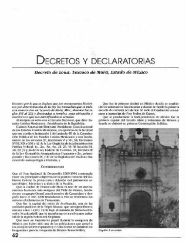 Decretos y declaratorias. Decreto de zona: Texcoco de Mora, Estado de México