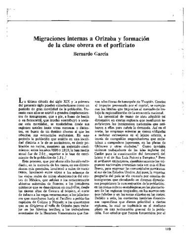 Migraciones internas a Orizaba y formación de la clase obrera en el porfiriato