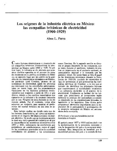 Los orígenes de la industria eléctrica en México: las compañías británicas de electricidad (1900-1929)