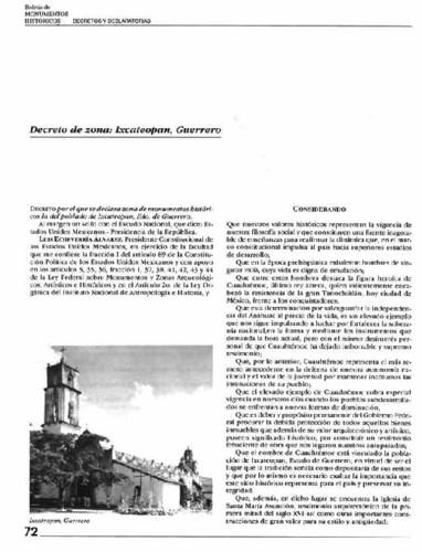Decreto de zona: Ixcateopan, Guerrero