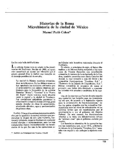 Historias de la Roma. Microhistoria de la ciudad de México