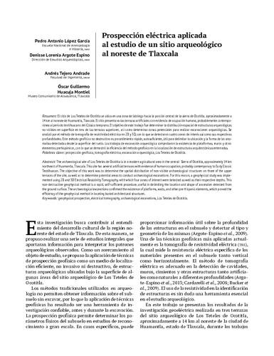 Prospección eléctrica aplicada al estudio de un sitio arqueológico al noreste de Tlaxcala