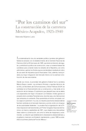 """""""Por los caminos del sur"""". La construcción de la carretera México-Acapulco, 1925-1940"""