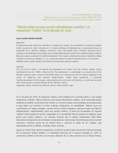 """""""México debe ser una nación oficialmente católica"""": el semanario """"Unión"""" en la década de 1950"""