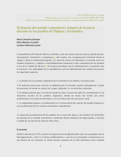 El despojo del sentido comunitario: impacto de la nueva diócesis en los pueblos de Tlalpan y Xochimilco
