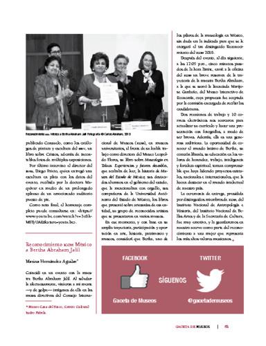 Reconocimiento ICOM México a Bertha Abraham Jalil