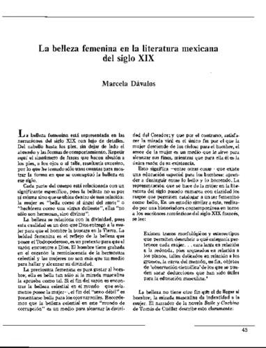La belleza femenina en la literatura mexicana del siglo XIX