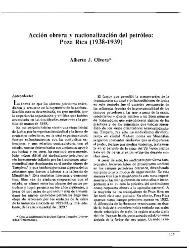 Acción obrera y nacionalización del petróleo: Poza Rica (1938-1939)
