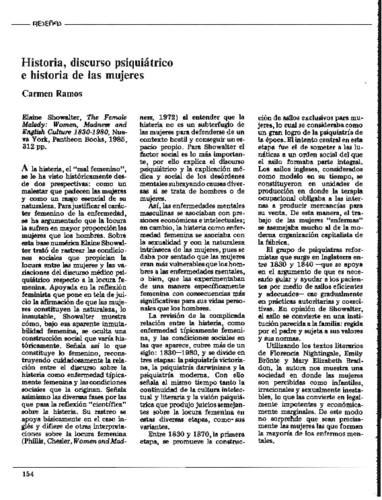 Historia, discurso psiquiátrico e historia de las mujeres
