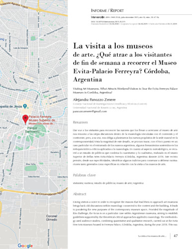 La visita a los museos de arte. ¿Qué atrae a los visitantes de fin de semana a recorrer el Museo Evita-Palacio Ferreyra? Córdoba, Argentina