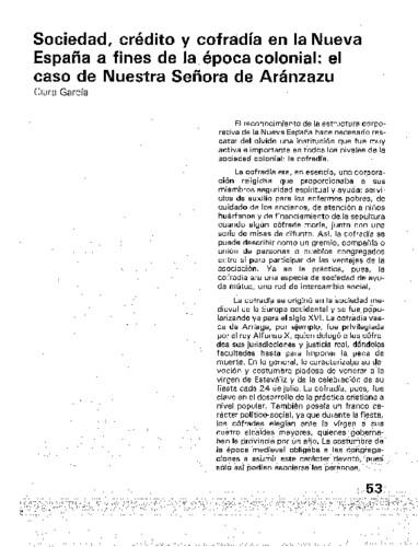 Sociedad, crédito y cofradía en la Nueva España a fines de la época colonial: el caso de Nuestra Señora de Aránzazu