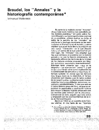 """Braudel, los """"Annales"""" y la historiografía contemporánea"""