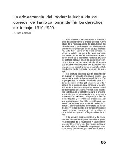 La adolescencia del poder: la lucha de los obreros de Tampico para definir los derechos del trabajo. 1910-1920