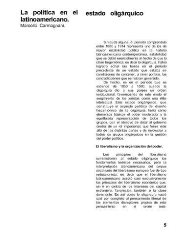La política en el estado oligárquico latinoamericano