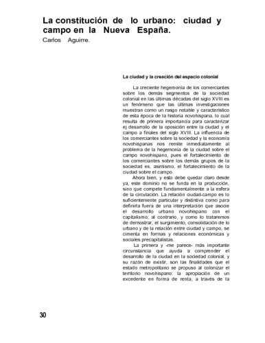La constitución de lo urbano: ciudad y campo en la Nueva España