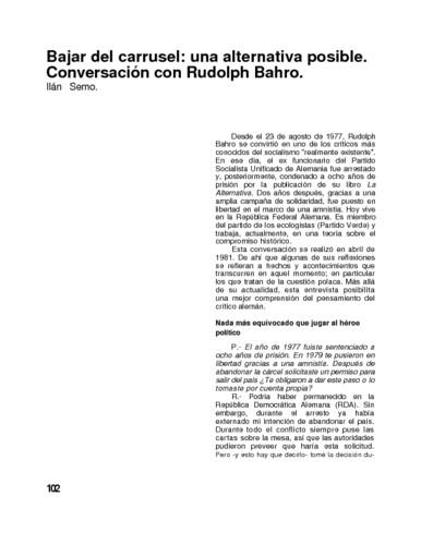 Bajar del carrusel: una alternativa posible. Conversación con Rudolph Bahro