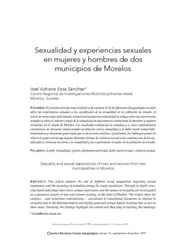Sexualidad y experiencias sexuales en mujeres y hombres de dos municipios de Morelos