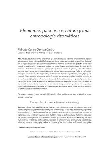 Elementos para una escritura y una antropología rizomáticas