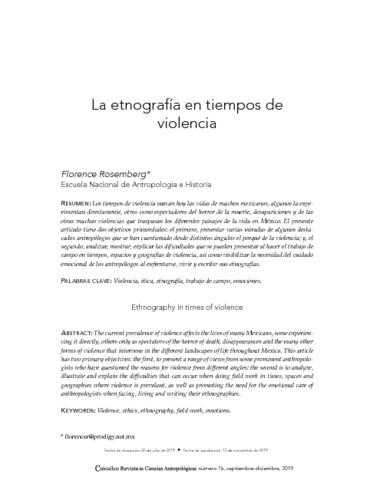 La etnografía en tiempos de violencia