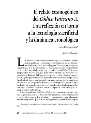 El relato cosmogónico del Códice Vaticano A. Una reflexión en torno a la tecnología sacrificial y la dinámica cronológica