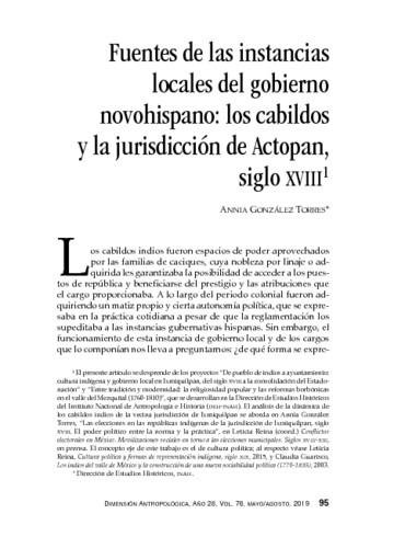 Fuentes de las instancias locales del gobierno novohispano: los cabildos de la jurisdicción de Actopan, siglo XVIII