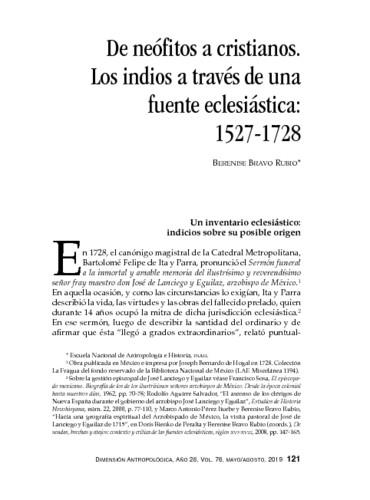 De neófitos a cristianos. Los indios a través de una fuente eclesiástica: 1527-1728