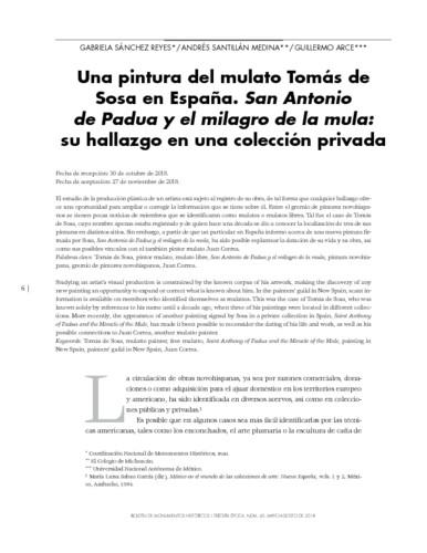 Una pintura del mulato Tomás de Sosa en España. San Antonio de Padua y el milagro de la mula