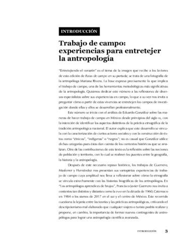 Introducción. Trabajo de campo: experiencias para entretejer la antropología