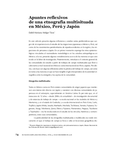 Apuntes reflexivos de una etnografía multisituada en México, Perú y Japón
