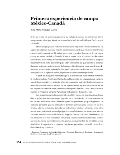 Primera experiencia de campo  México-Canadá