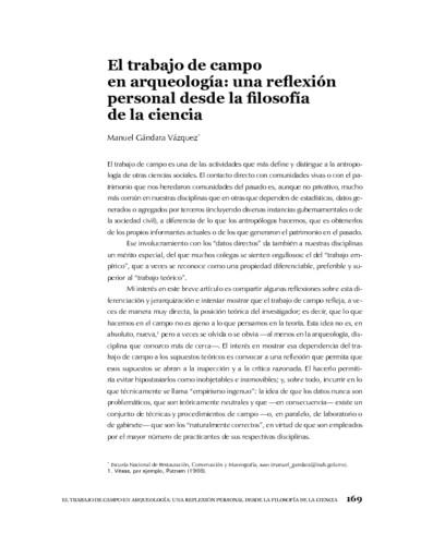 El trabajo de campo en arqueología: una reflexión personal desde la filosofía de la ciencia