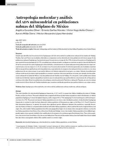 Antropología molecular y análisis del ADN mitocondrial en poblaciones nahuas del Altiplano de México