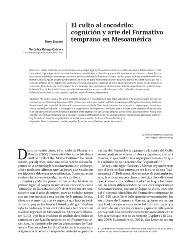 El culto al cocodrilo: cognición y arte del Formativo temprano en Mesoamérica