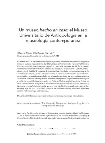 Un museo hecho en casa: el Museo Universitario de Antropología en la museología contemporánea